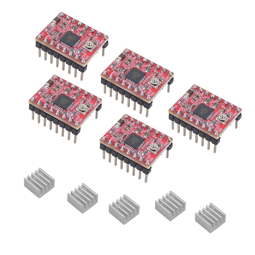 5PCS A4988 StepStick Stepper Motor Driver Module for 3D Printer Reprap Heat sink